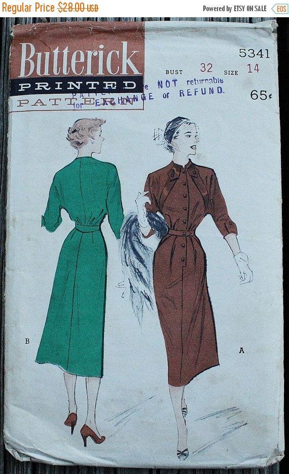 25% Pattern Sale Butterick 5341 1950s 50s Batwing Dress Vintage ...