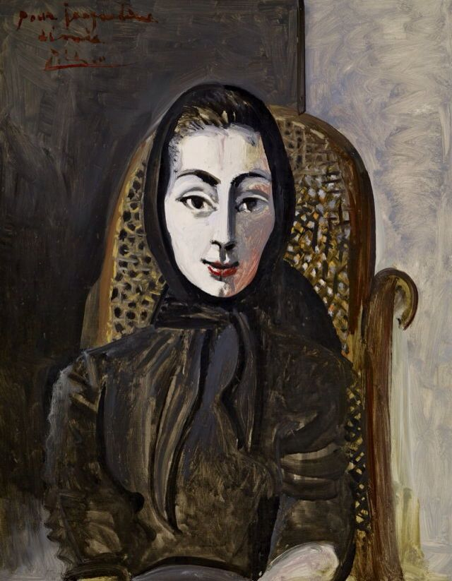 Jacqueline with a Black Scarf - Pablo Picasso 1954