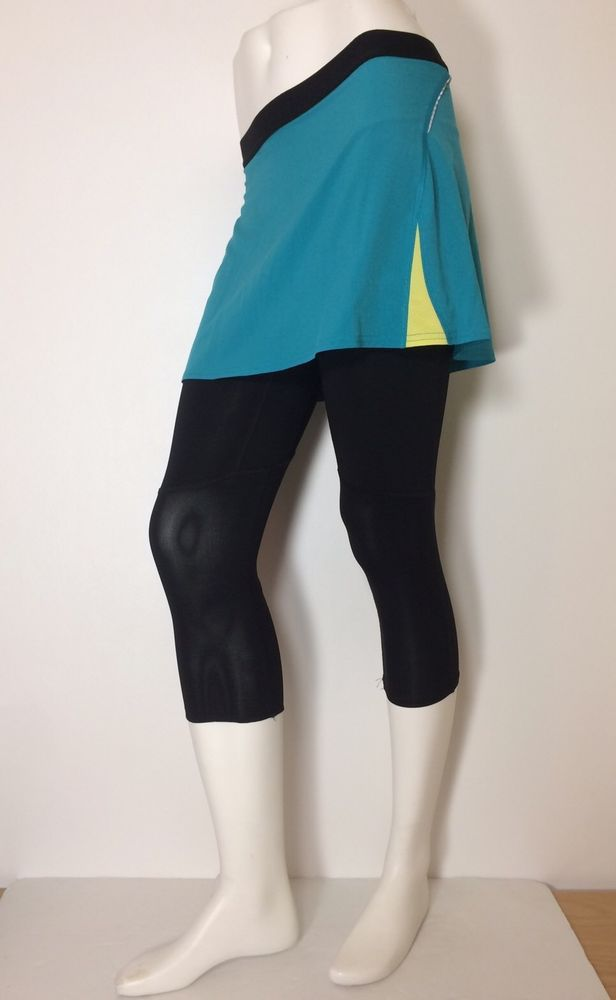 7d62320ad4d6c Lucy Activewear 2 in 1 Workout Capri & Skirt Teal Black Sz. XS  #LucyActivewear #PantsTightsLeggings