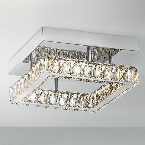 Patricia crystal square 12 wide chrome led ceiling light 8f506 lamps plus