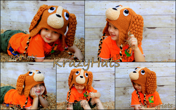 CoCo the Spaniel Hat.Crochet dog hat. by KrazyHats1 on Etsy, $32.99
