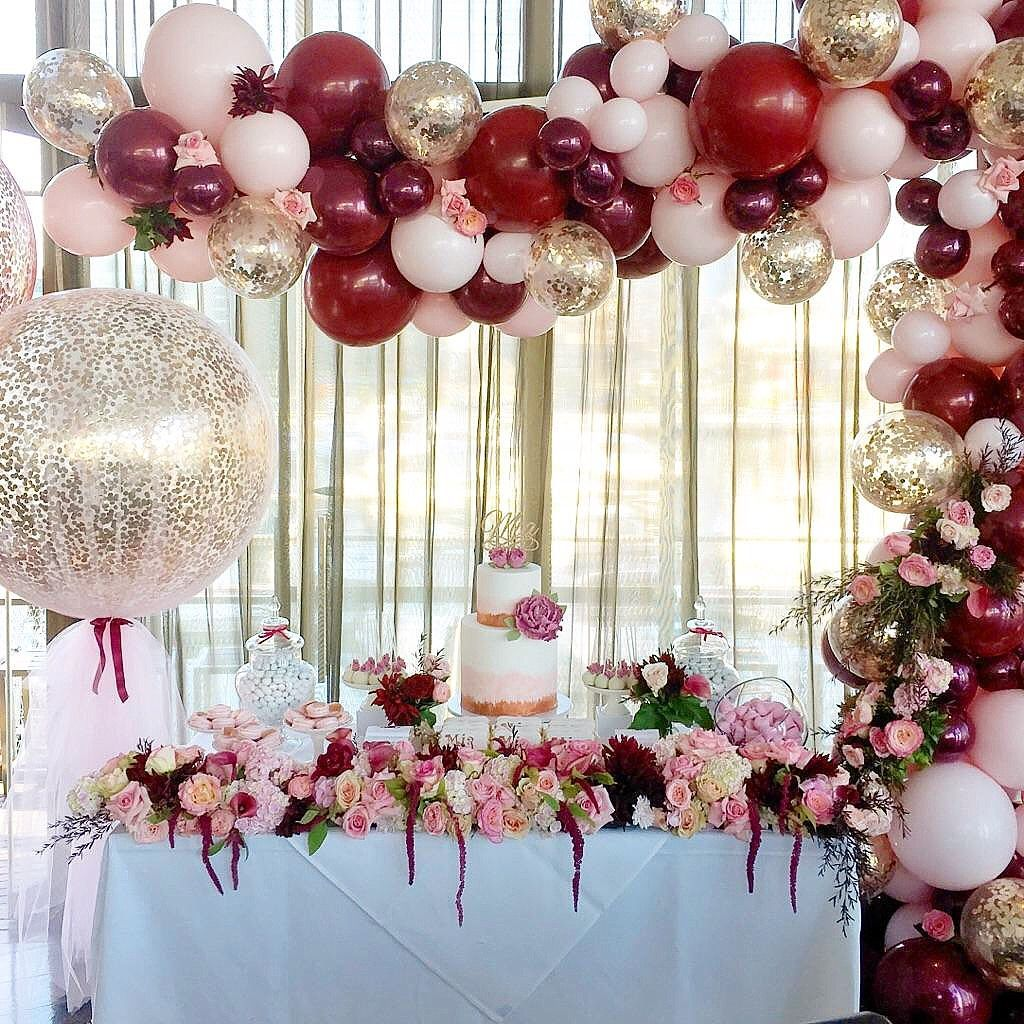 just WOW! red, burgundy, white, clear confetti balloons ...