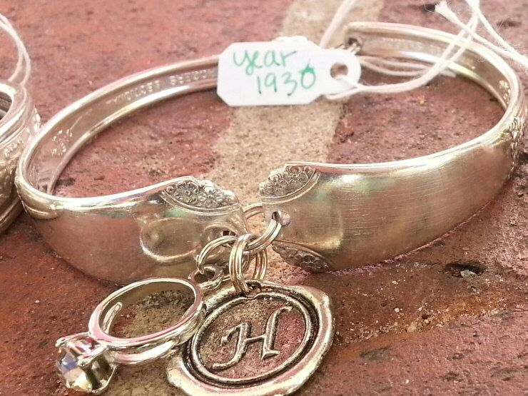 Vintage 1930's Silver Plated Spoon Bracelet. Personalize Your Bracelet With any 2 Charms Of Your Choice(choices listed in photos) by AnotherEraByBecky on Etsy