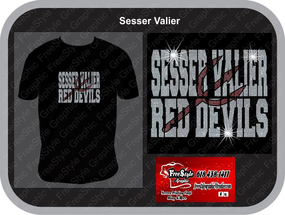 Sesser red devil school mockup.  Glitter  $15 for sizes up to xlarge $17 for sizes 2Xlarge and BIgger