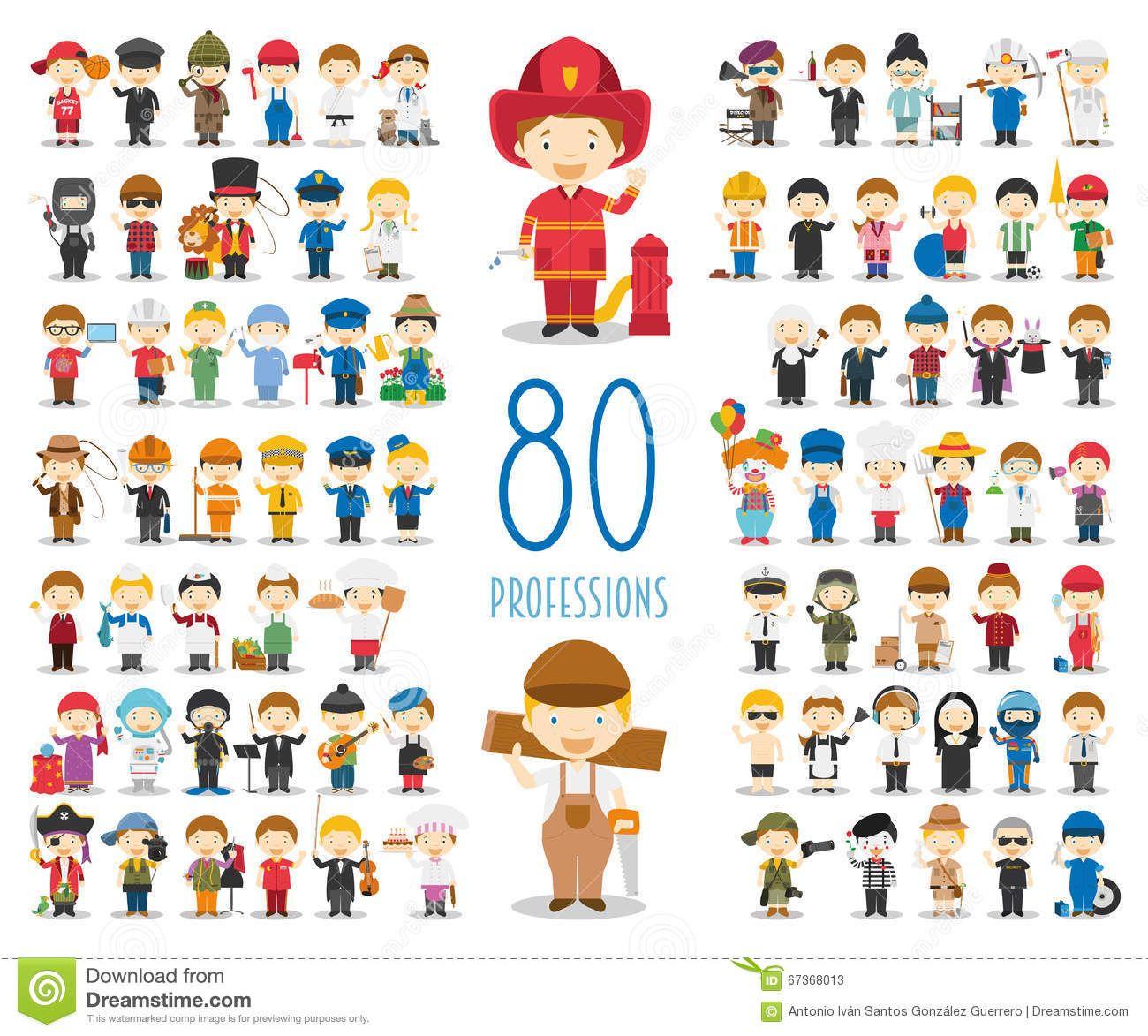 Grupo De 80 Profissões Diferentes No Estilo Dos Desenhos