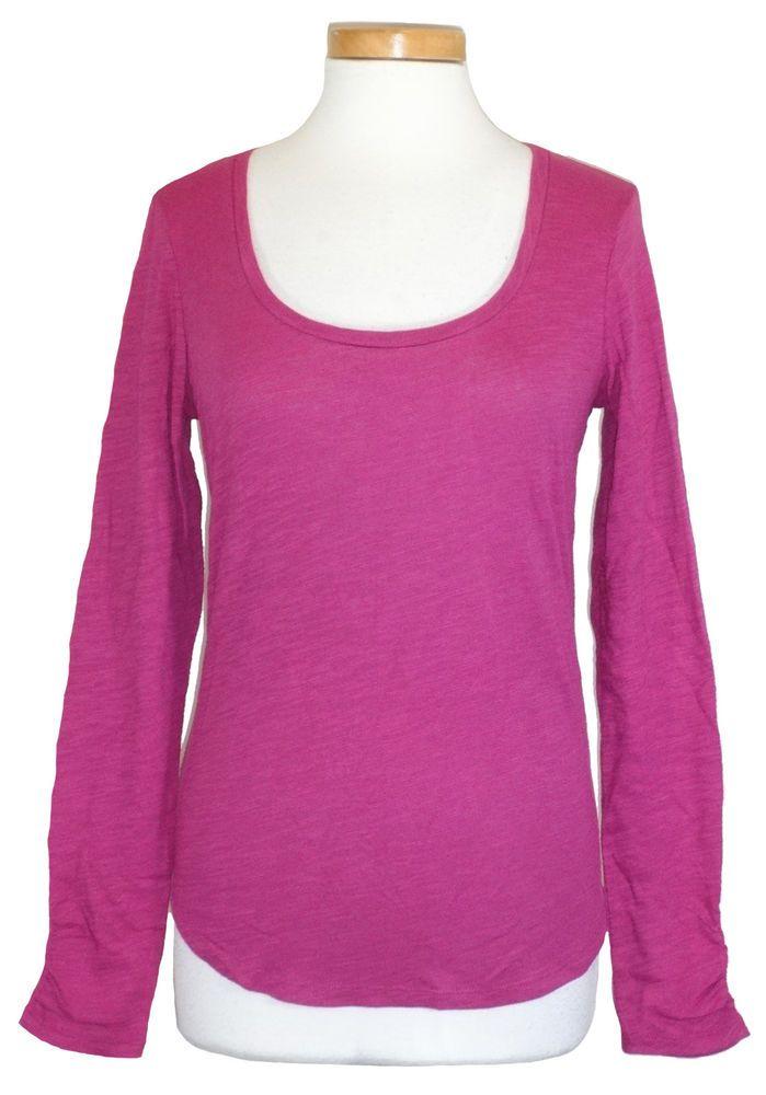 Lucky Brand Womens Shirt AMBER Top Scoopneck Slub Cotton Fuchsia Pink M NEW NWT #LuckyBrand #KnitTop #Casual