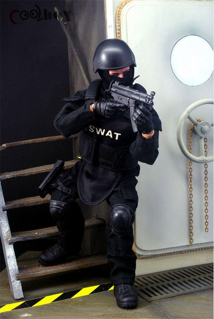 1//6 Soldier SWAT Black Uniform Model Toys Military Army Suit 12/'/' Figure Doll