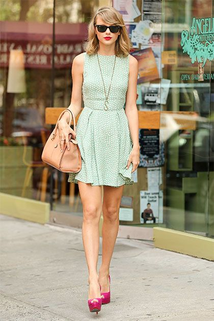 c066e94c66b6 Taylor looked the epitome of NYC chic leaving a restaurant in a mint green  dress