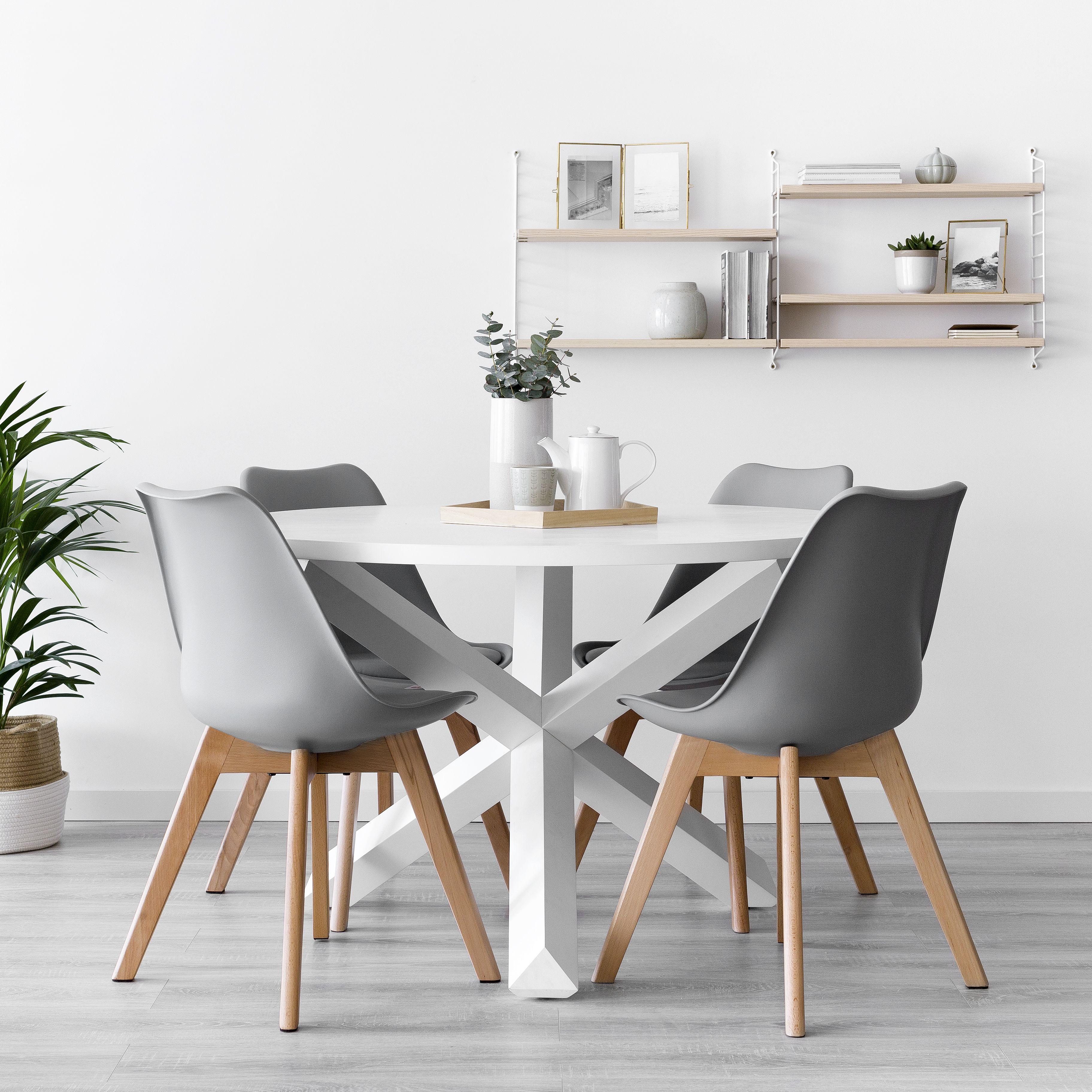 mesa blanca redonda silla gris