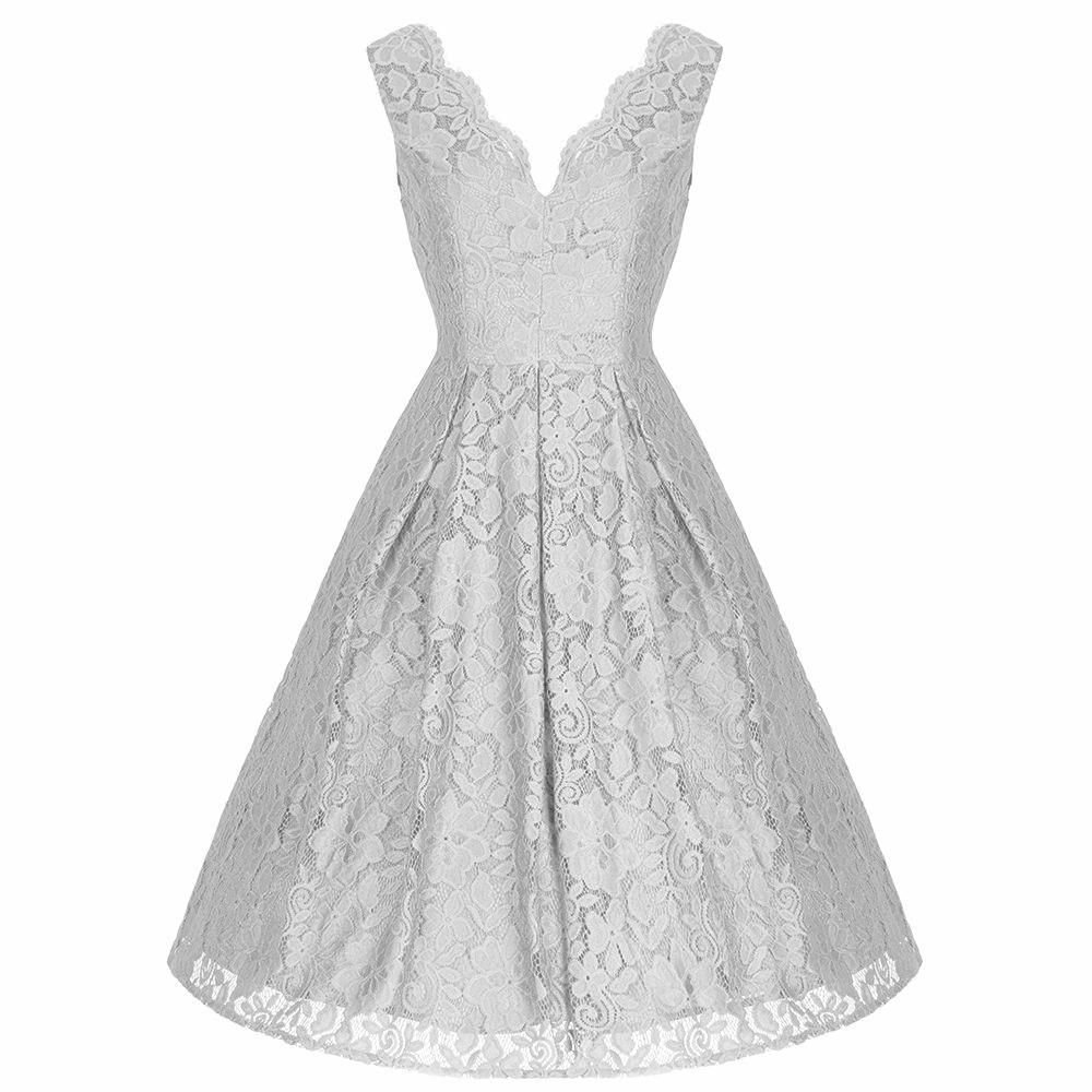 Silver Grey Embroidered Lace Sleeveless V Neck 50s Swing Dress ...