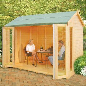 Shire 10 X 6 Ft Blenheim Full Length Double Folding Door Summerhouse Wooden Summer House Summer House Summer House Garden