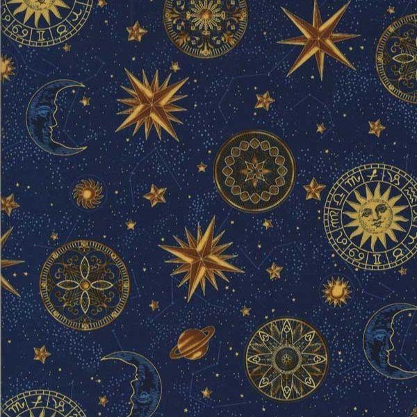Hoffman Fabrics Star Gazing Navy/Gold Celestial Planets ...