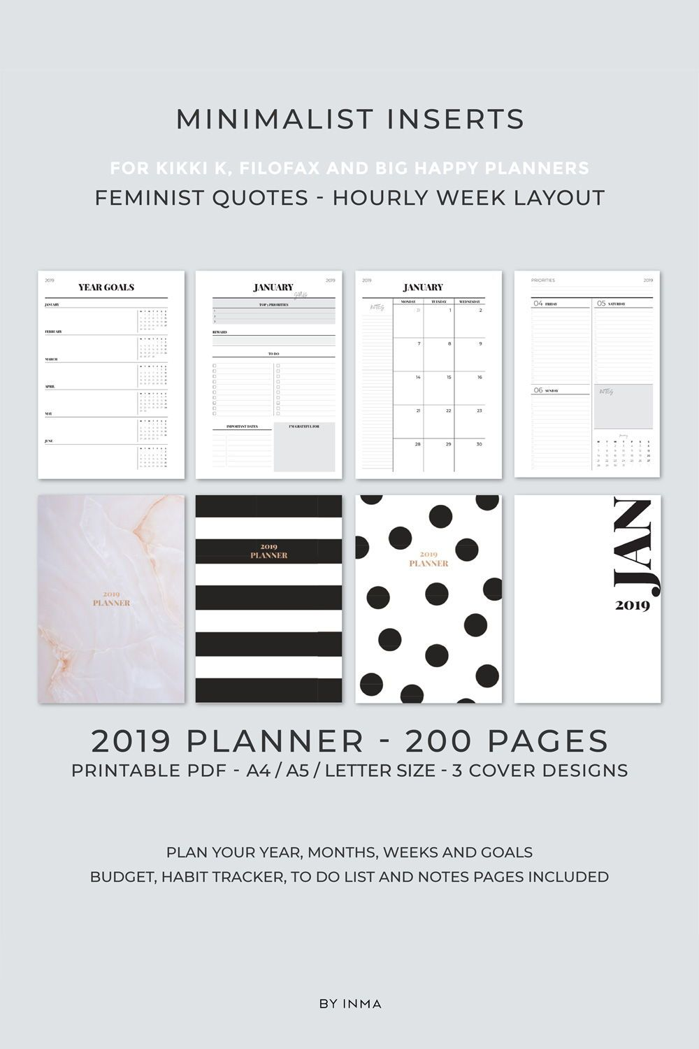 picture about Cute Planner Refills referred to as 2019 Planner PRINTABLE, HOURLY weekly planner, Every month