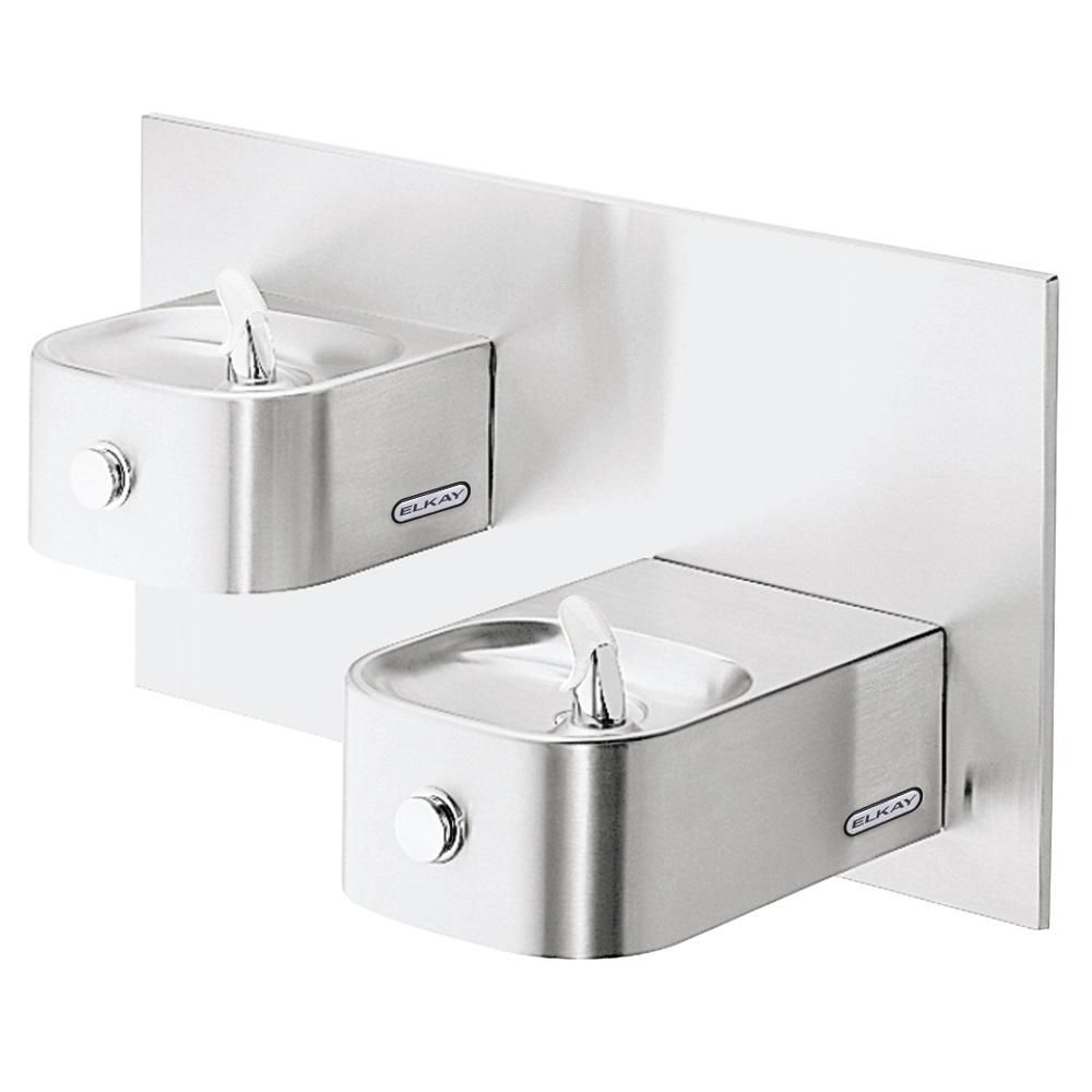 Elkay Wall Mounted Soft Sides Bi Level Non Filtered Non Refrigerated Fountain Silver Products Drinking Fountain Water Coolers Fountain