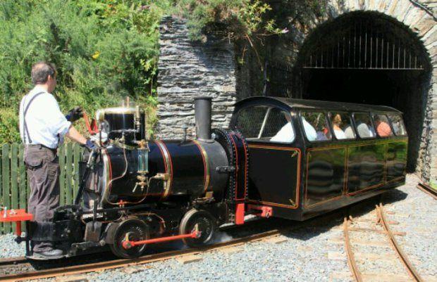 Laxey, Isle of Man, U K  The Laxey Mine Railway train going