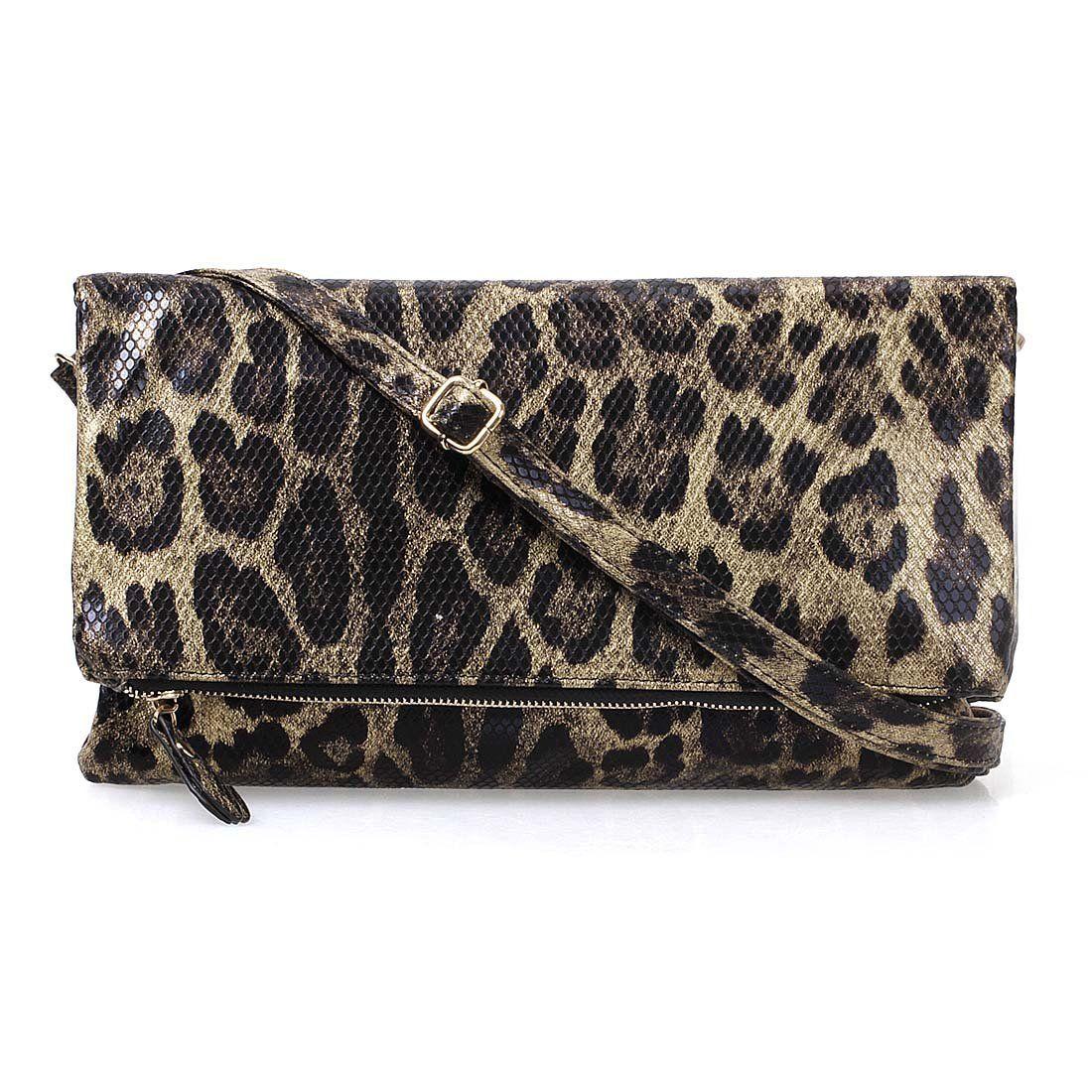 BMC Womens Lustrous Gold Leopard Animal Print Faux Snake Skin Texture Foldover Wristlet Shoulder Strap Clutch Handbag