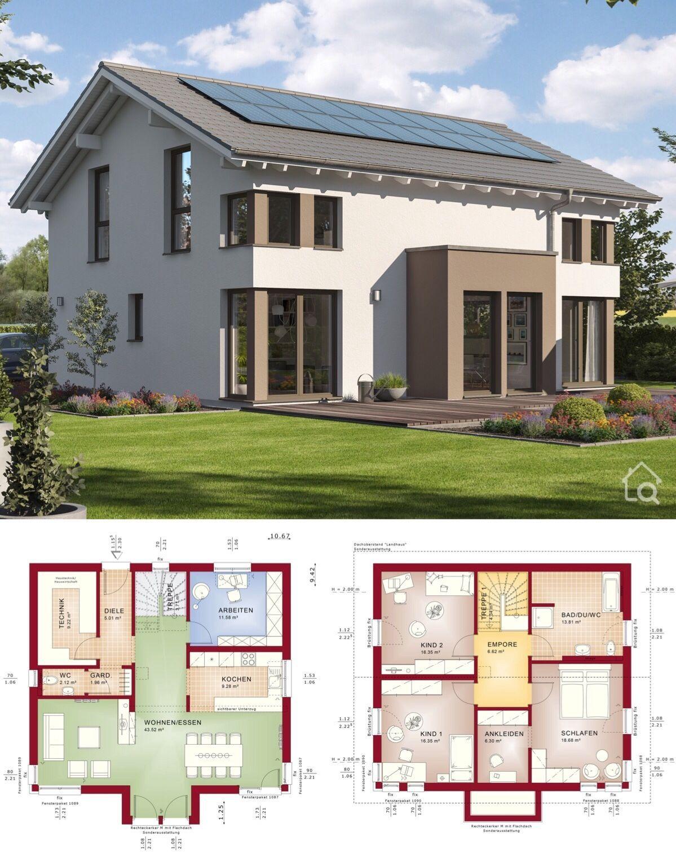 Fertighaus modern mit Satteldach Architektur & Grundriss