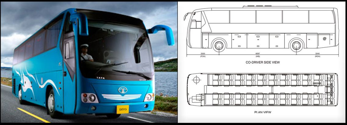 Tata Motors  Divo Luxury Coach With Layout  Diagram