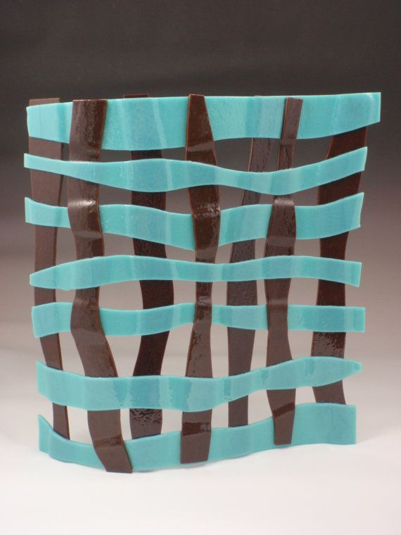 Turquoise and brown woven glass art piece by RosaModerna on Etsy, $300.00