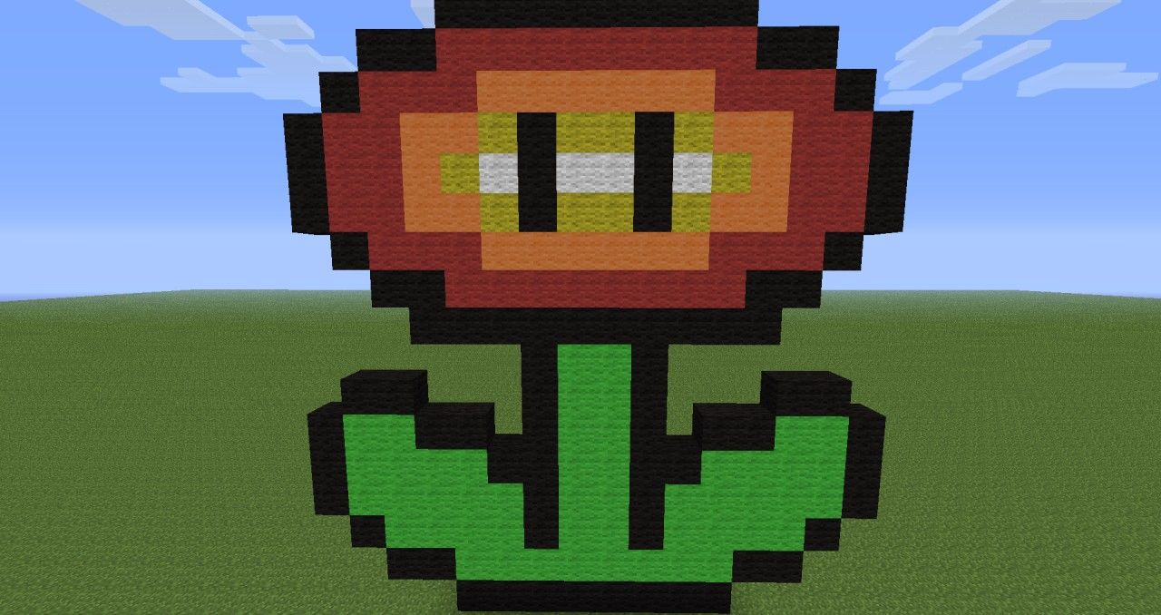 How To Make Pixel Art In Minecraft Bedrock Fire Flower Mario 3421556 Jpg 1280 678 Pixel Art Minecraft Pixel Art Art