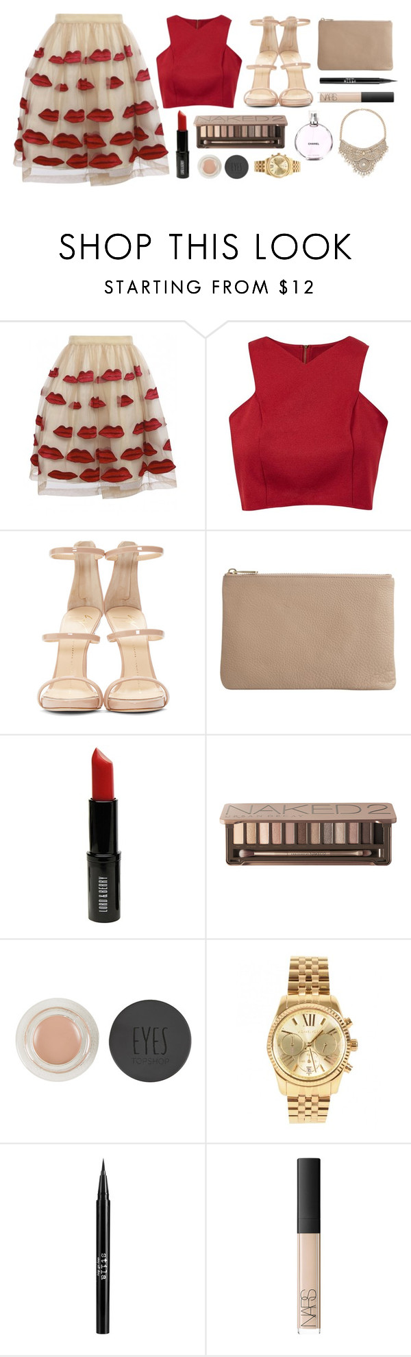 """""""O is for the only one I see."""" by andreavc ❤ liked on Polyvore featuring Alice + Olivia, Cameo Rose, Giuseppe Zanotti, Wittner, Lord & Berry, Urban Decay, Topshop, Chanel, Michael Kors and Stila"""