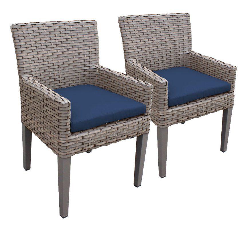 Oasis Patio Dining Chair With Cushion, Pantone Sailor Blue, Navy Blue Chair  Cushion On