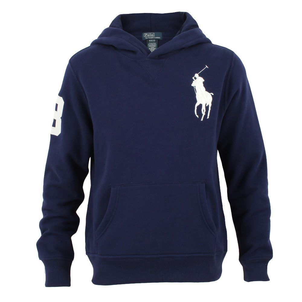 Polo Ralph Lauren Big Pony Fleece Pullover Hoodie, Navy, Medium