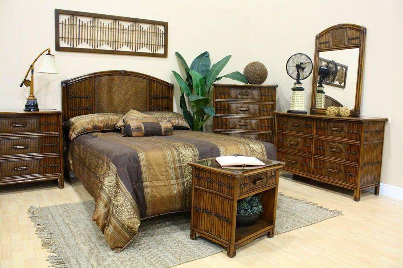 Beautiful Polynesian Wicker Bedroom Suite By Hospitality Rattan