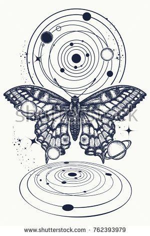 58c014f7f Mystical symbol of freedom, nature, tourism. Realistic butterfly art tattoo  for women. Beautiful Swallowtail boho t-shirt design