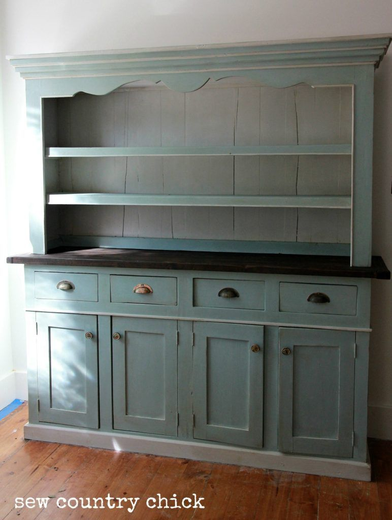 Annie Sloan Duck Egg Blue and Paris Grey Kitchen hutch Sew Country Chick #bluegreykitchens