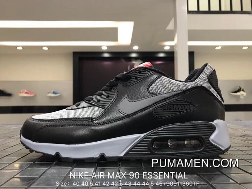 bec70c8c245b8 Nike Air Max 90 Essential 537384-065 Mens Retro Running Shoes Black Grey  Woven Best