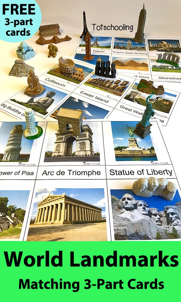 FREE Montessori-inspired world landmarks 3-part cards, perfect for object matching with Safari Ltd TOOB sets. Great geography and social studies activity. Features 17 famous landmarks including Eiffel Tower, Statue of Liberty, Pyramids of Egypt, Great Wal