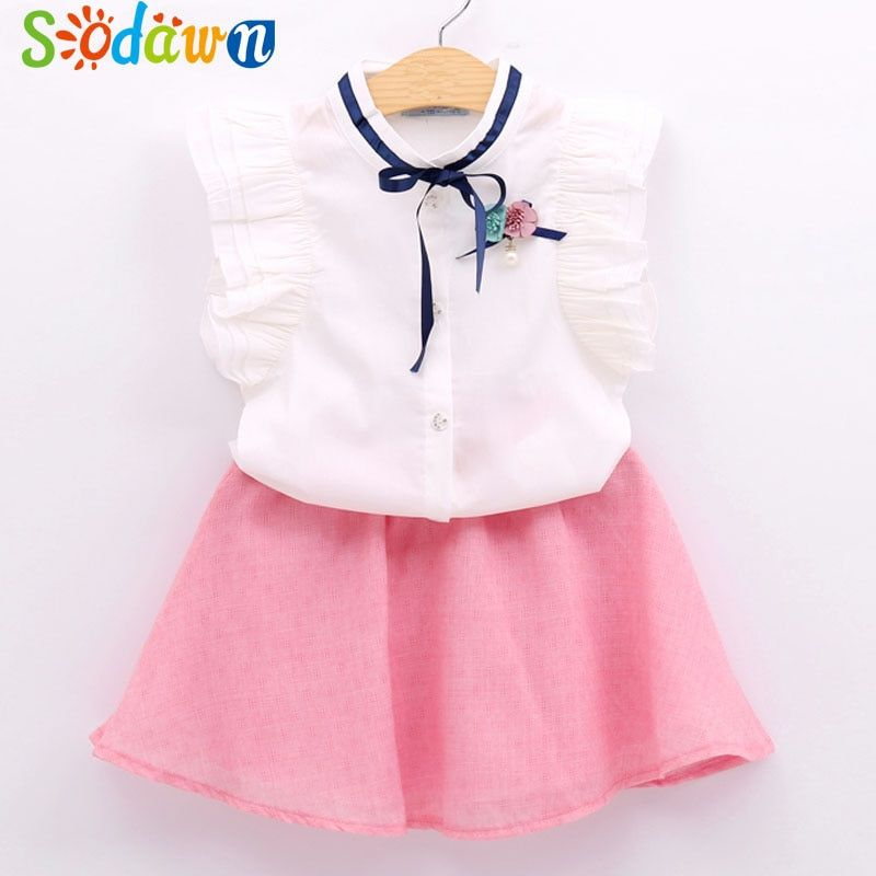 efa56b762bc6 Set Girls Dress in The Summer of Style Children Sweet Bowknot Clothes Set  Sleeveless + Dress Girl 2 PC Girls clothes