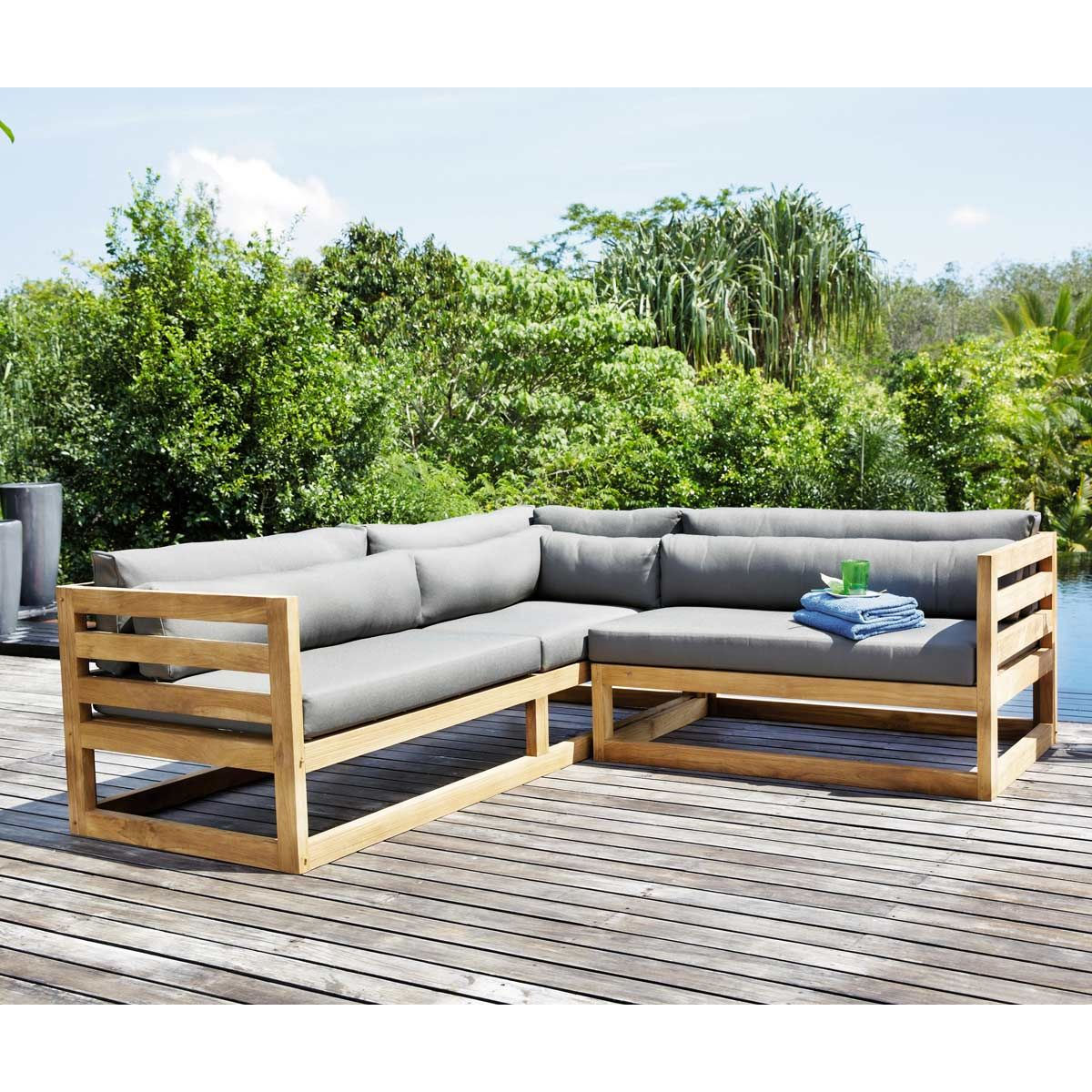 Teak Outdoor Corner Sofa Charcoal Grey Cyclades