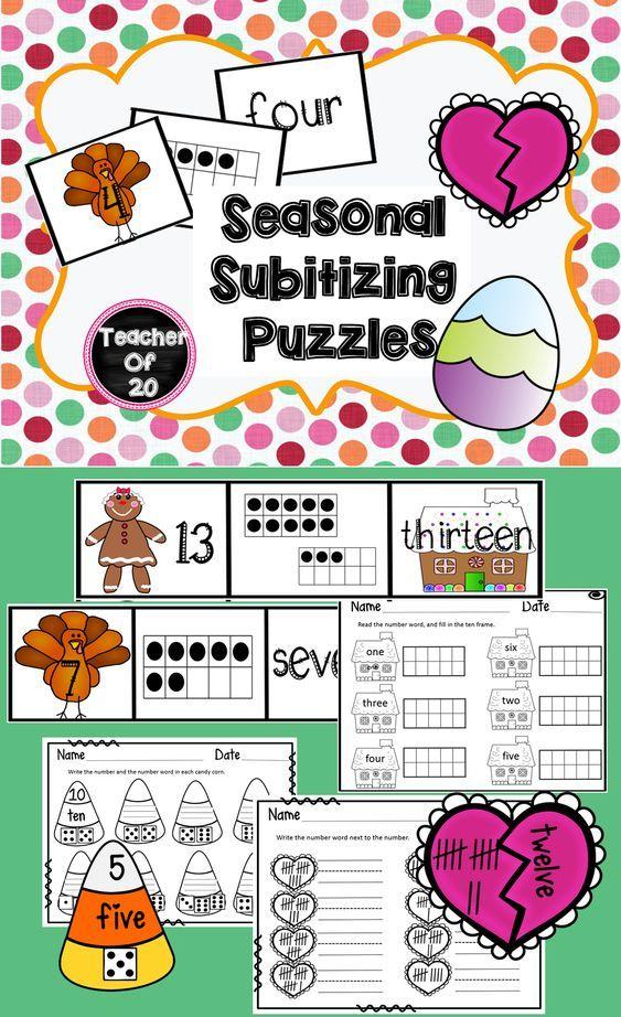Subitizing Puzzles Bundle | TpT Math Lessons | Pinterest