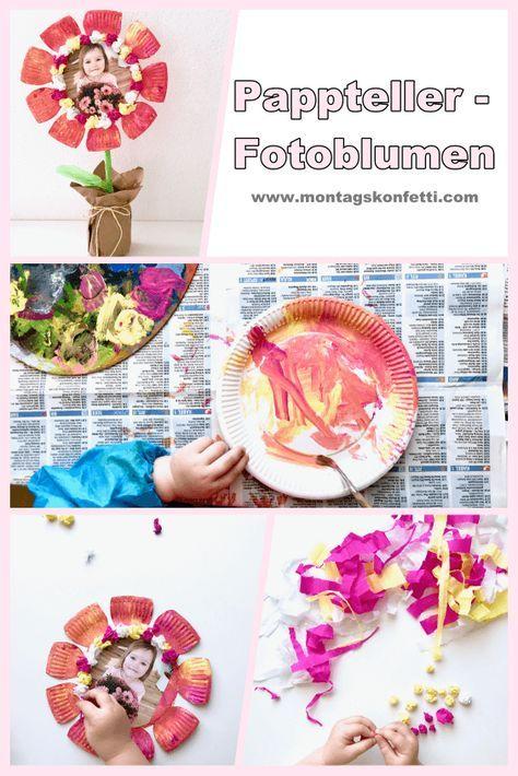 Muttertagsbastelei mit Kleinkind – Pappteller-Fotoblumen