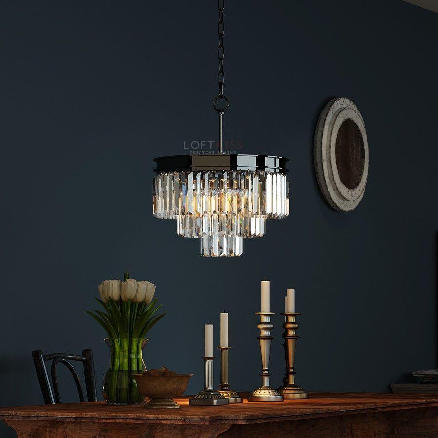 3 tier black_nickel crystal glass prism fringe chandelier odeon chandelier lighting