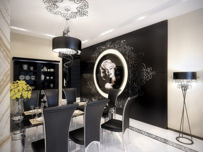 Black and white luxury apartment design by geometrix marilyn monroe dining black chair