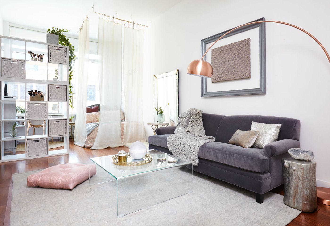 Einrichtungsbeispiele für Wohn und Schlafzimmer in einem ...