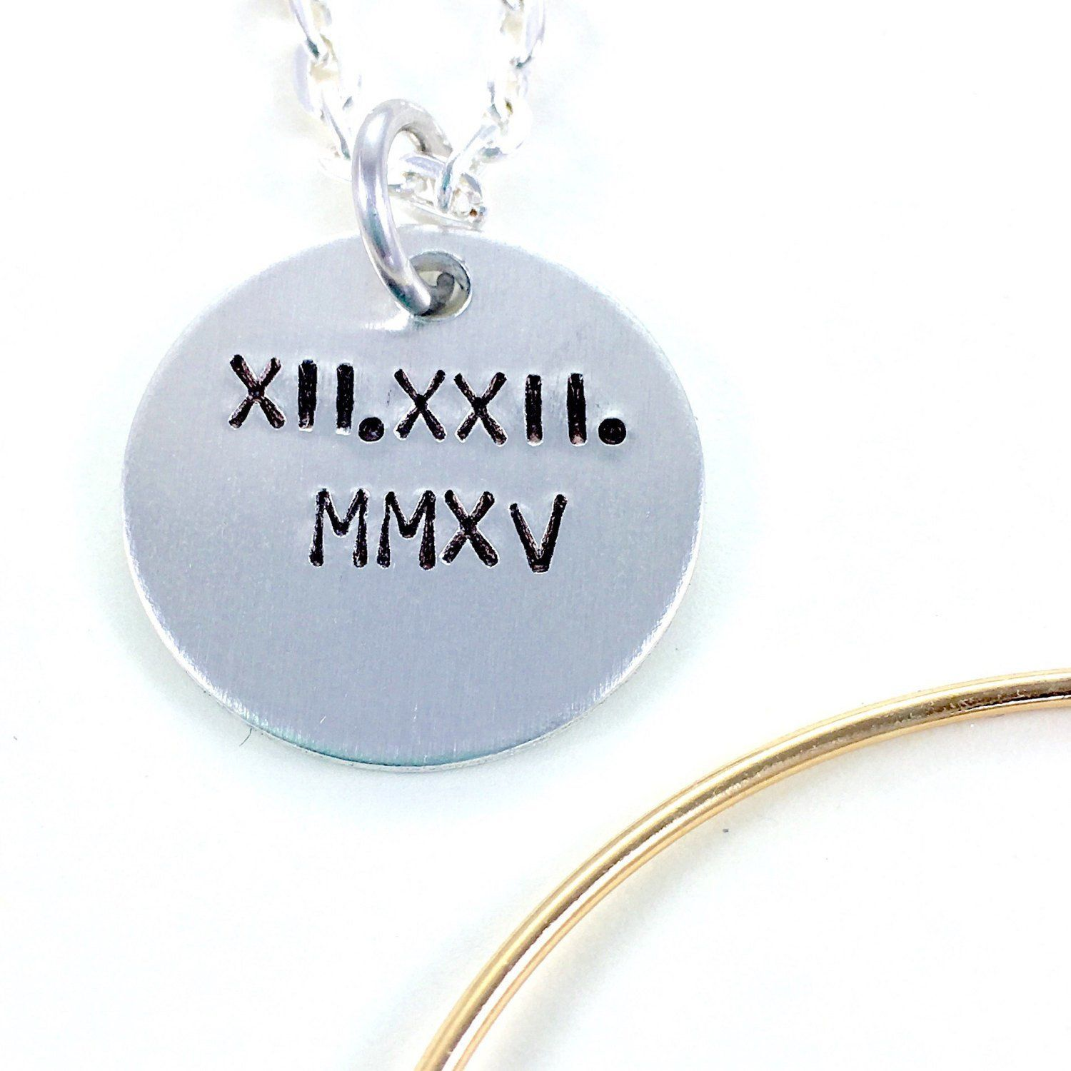 Personalized roman numeral necklace Roman numeral wedding date
