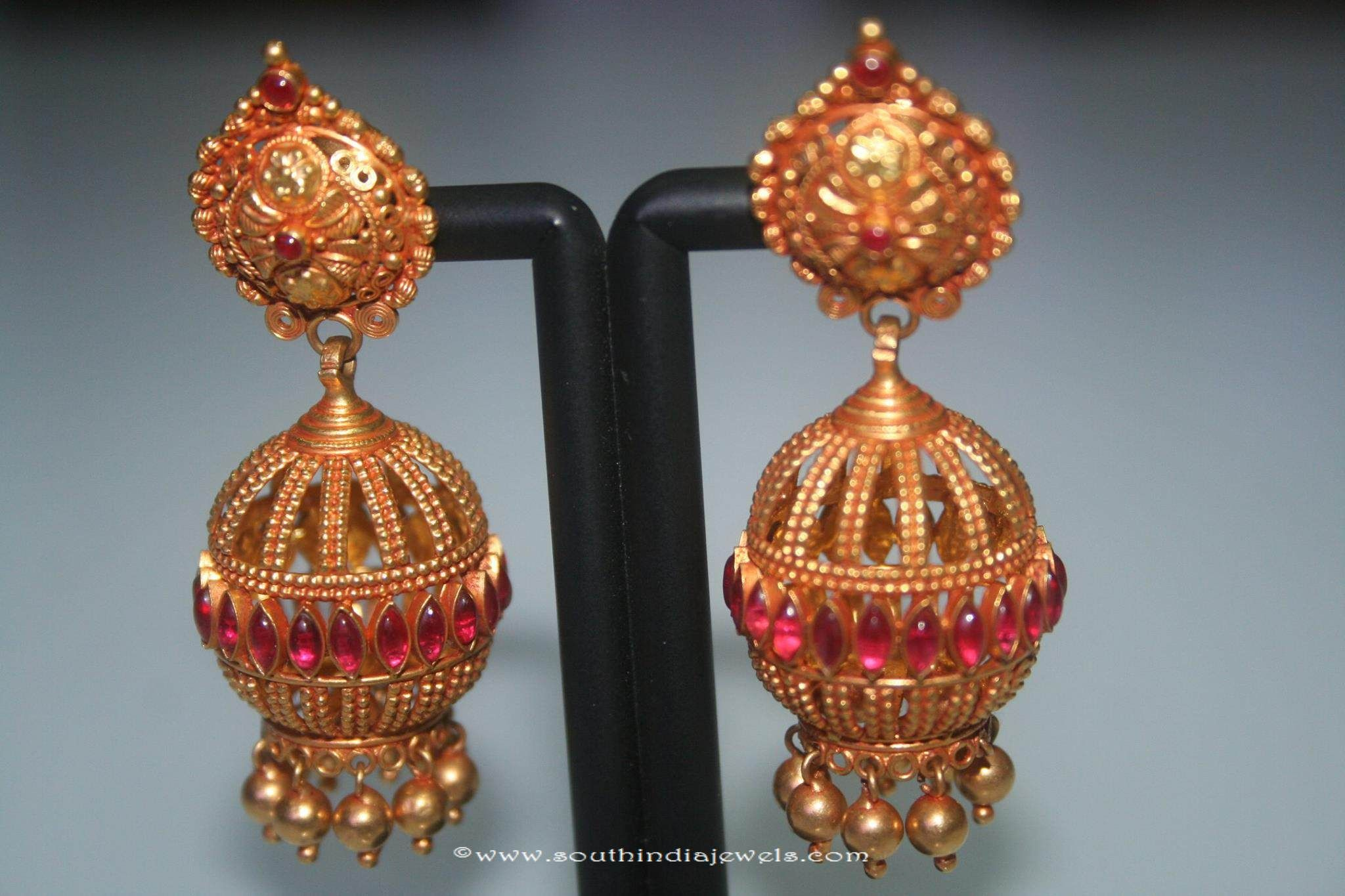 Gold Antique Ruby Jhumka from Prakurthi | Gold, Indian jewelry and ...