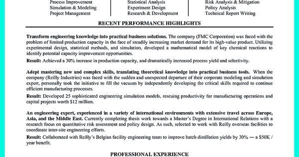 Successful Objectives in Chemical Engineering Resume Vina Share - chemical engineering resume