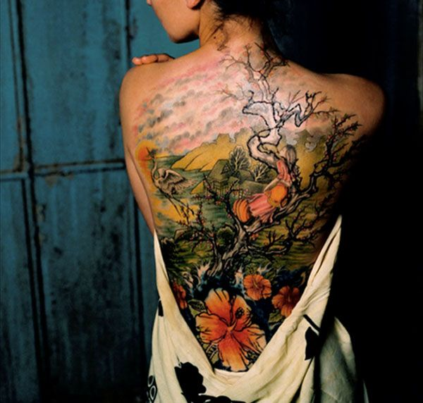 Girl In Cherry Blossom Tree Back Tattoo Back Piece Tattoo Japanese Tattoo Picture Tattoos