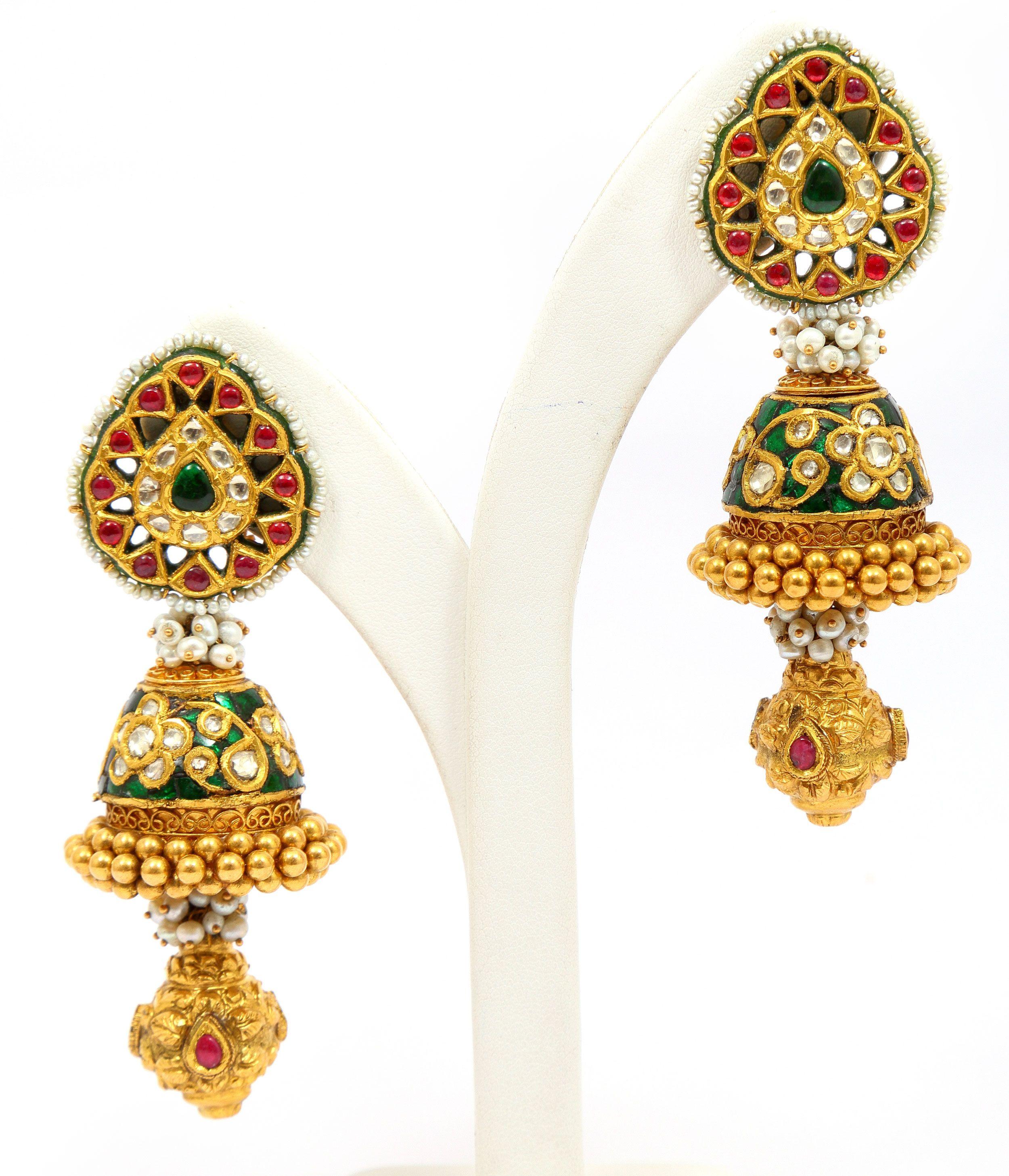 Gold earring enamel kundan earring india pinterest gold