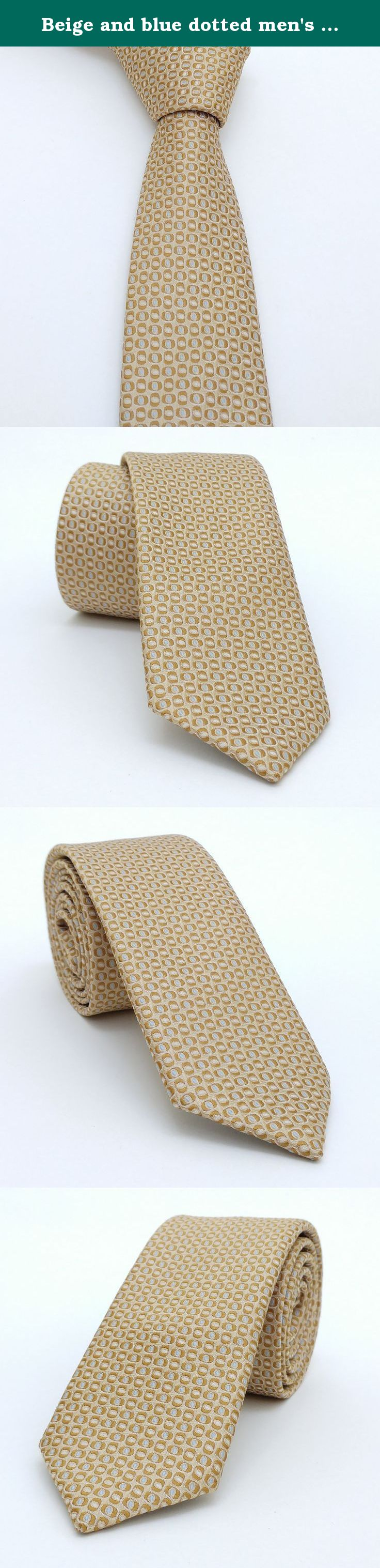 "Beige and blue dotted men's tie 6 cm (2,36"") DK-059. Beige and blue dotted men's necktie DK-059 Width : 6 cm (2,36"") Length : 150 cm (59,06"")."