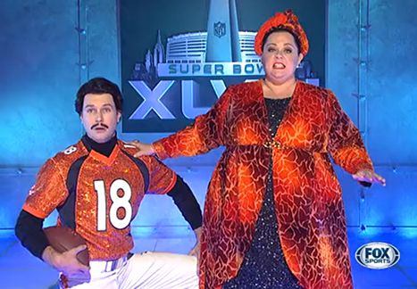 The best of both worlds - theatre geeks and sports CAN coexist.  SNL Skit Features Broadway Half Time Show, Melissa McCarthy Singing - Us Weekly
