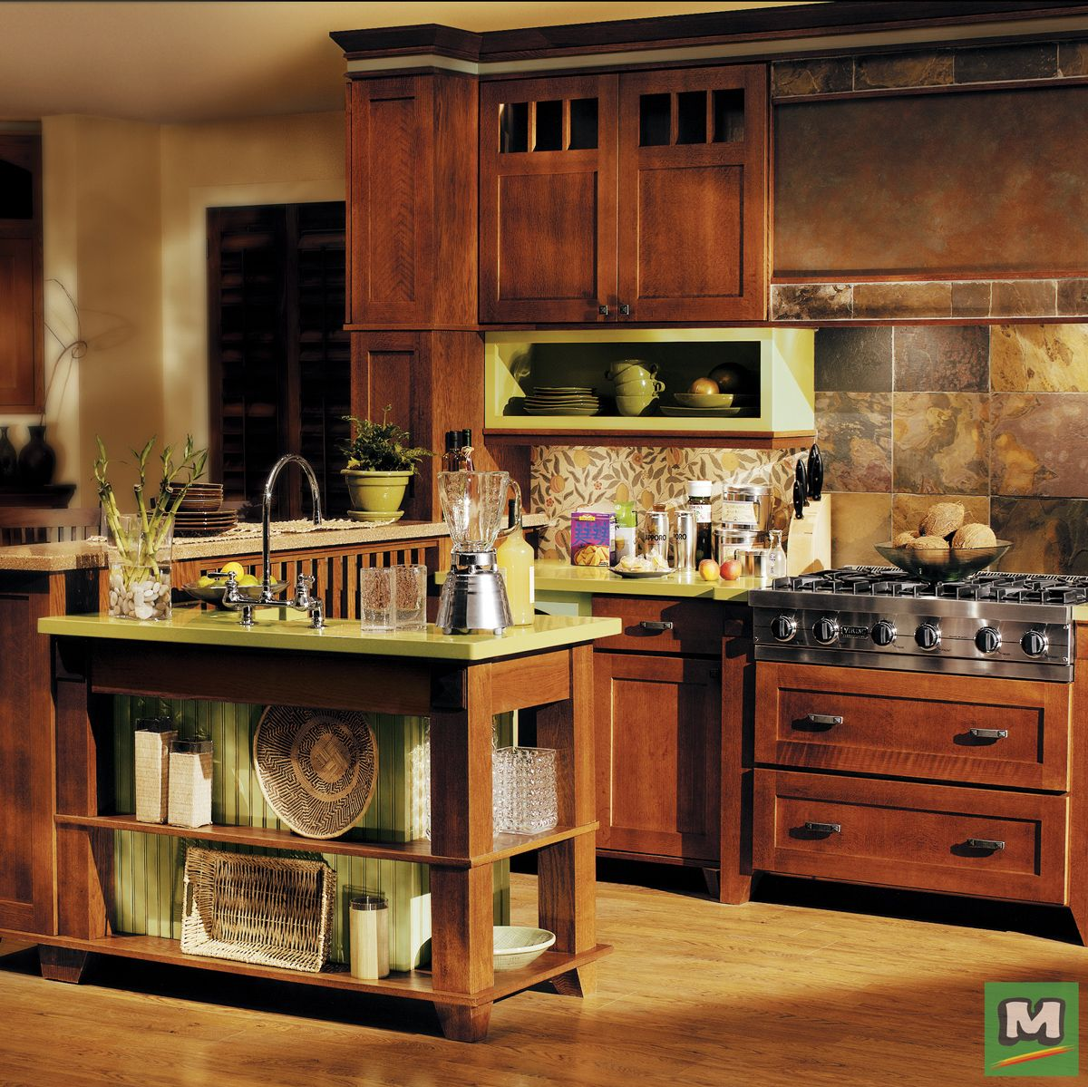 The Oak Park Quartersawn Oak In Chestnut Finish From Medallion Cabinetry Will Make Your Kitchen A Warm Welcoming Space Tha Menards Cabinets Cabinetry Kitchen