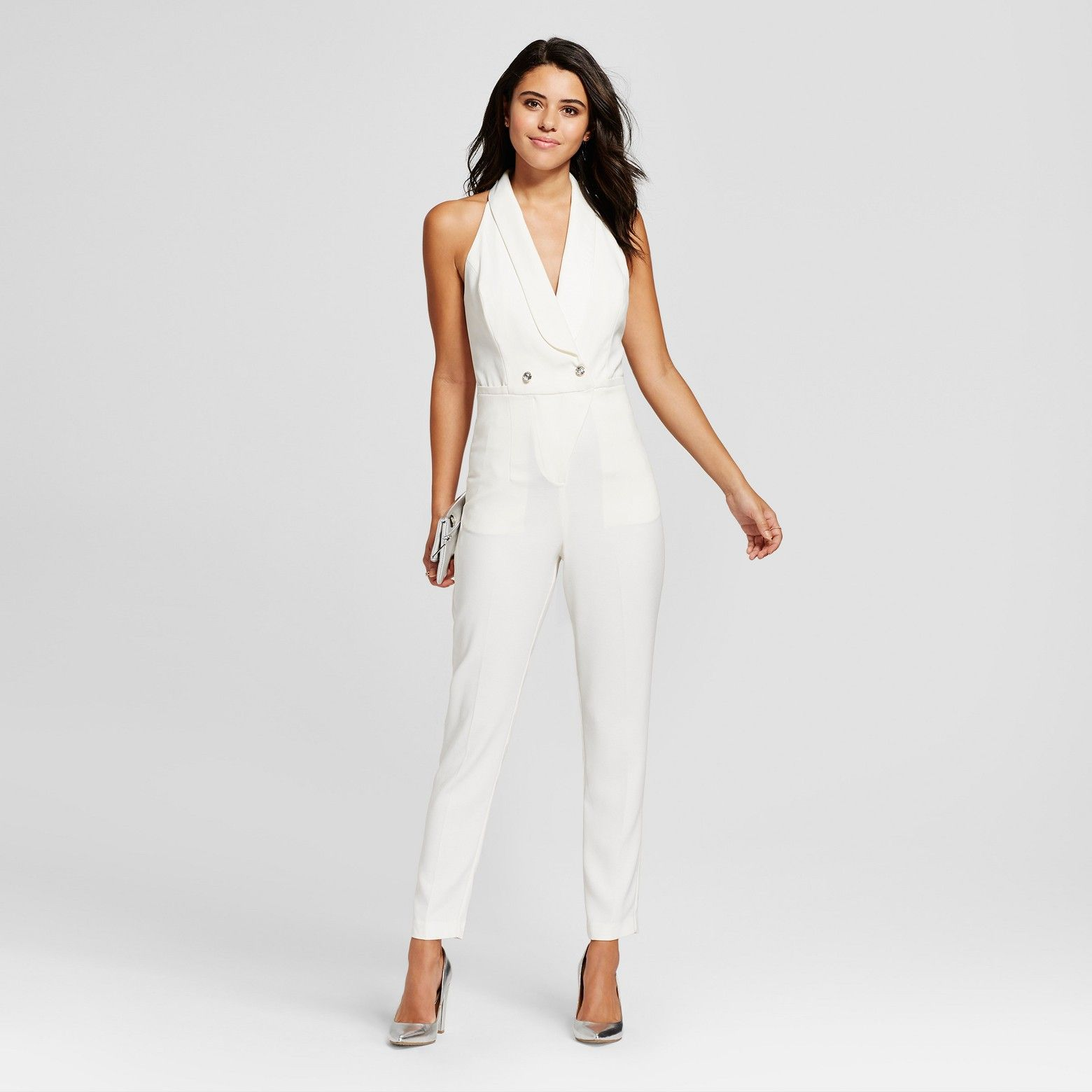 dcb6e32ef655 Women s Satin Crepe Tuxedo Jumpsuit - XOXO (Juniors ) White. Beautiful  party outfit