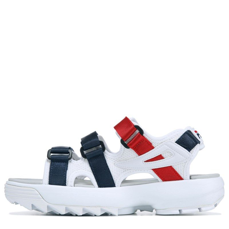 aa91fb87fe1 Fila Women s Disruptor Sandals (White Navy Red) in 2019