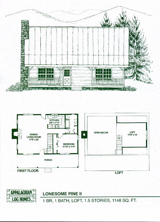 Lonesome Pine Ii 1 Bed 1 Bath 1 5 Stories 1148 Sq Log Cabin Floor Planslog